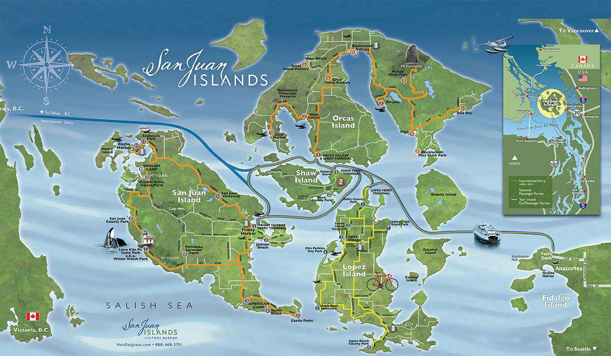 san juan islands salish sea Visit San Juans map