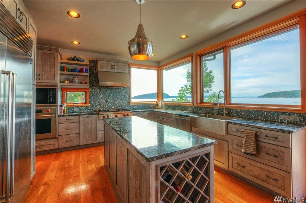 Foster Point Luxury Waterfront Home For Sale Orcas Island Real Estate Windermere Gudgell Group gorgeous kitchen