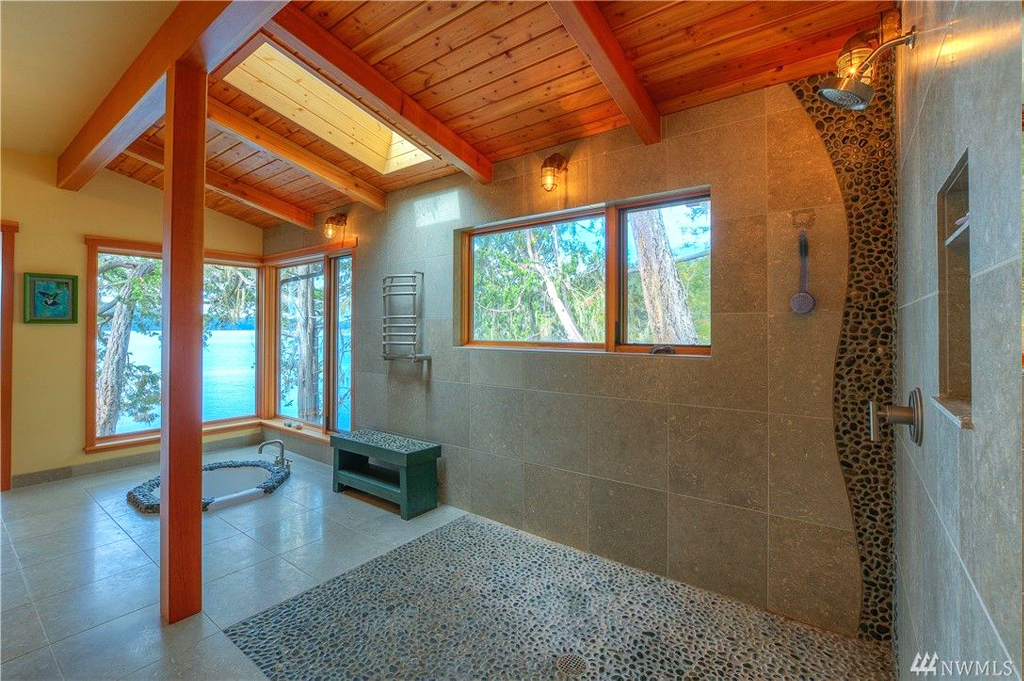 Foster Point Luxury Waterfront Home For Sale Orcas Island Real Estate Windermere Gudgell Group master bath spa