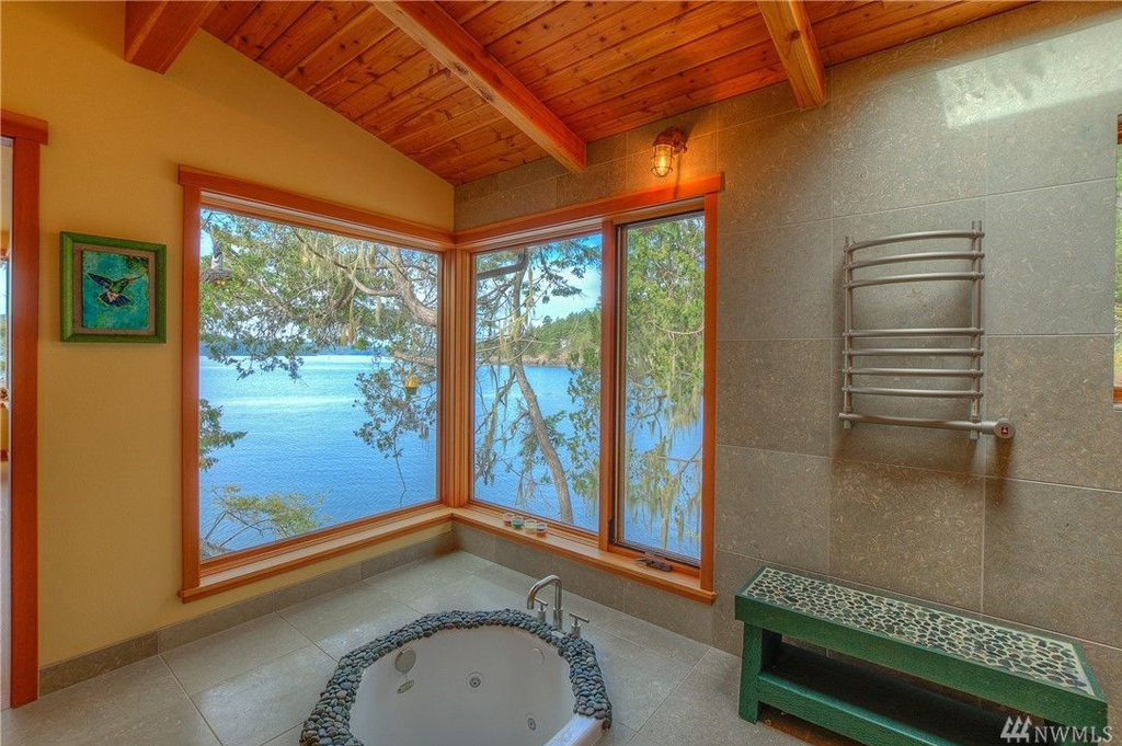 Foster Point Luxury Waterfront Home For Sale Orcas Island Real Estate Windermere Gudgell Group soaking tub water views